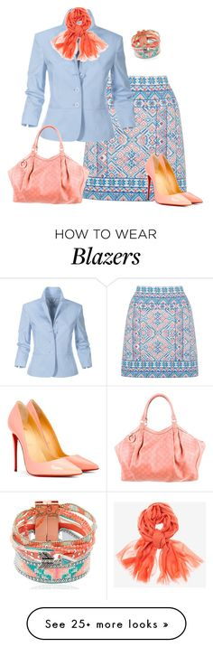 """""""The Blues Lite"""" by alpate on Polyvore featuring Oasis, Christian Louboutin, Gucci, Hipanema and Chico's"""
