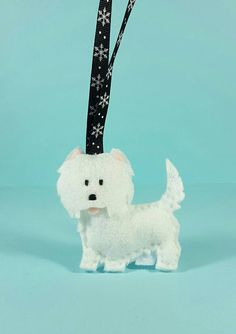Westie ornament felt Westie felt dog pet by ZillyGrilDesigns