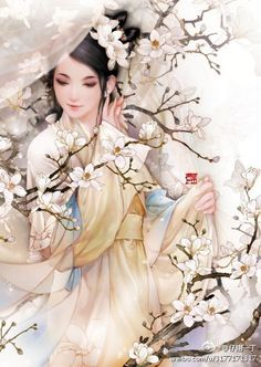 By Artist Unknown. Beautiful Fantasy Art, Beautiful Drawings, Chinese Painting, Chinese Art, Tattoo Aquarelle, Asian Artwork, Chinese Drawings, Art Chinois, Geisha Art