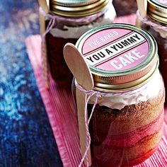 Cake In A Jar with a difference - the cake is baked in the jar in layers. I check out http://www.lakeland.co.uk