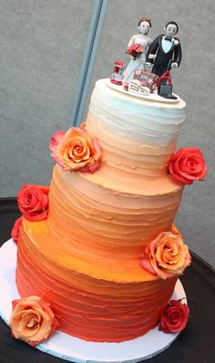 Also like the ombre look. I don't like the topper. Would put fewer flowers on the sides and have a flower cluster on top. Coral Wedding Cakes, Fall Wedding Cakes, Wedding Cakes With Flowers, Orange Wedding, Diy Wedding Reception, Wedding Cake Rustic, Wedding Shit, Wedding Ideas, Halloween Wedding Cakes