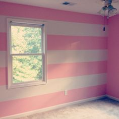 Pink and white horizontal wall stripes #nursery #babygirl