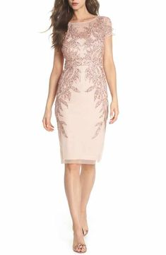 ec2ff7d7719b37 Adrianna Papell Beaded Sheath Dress Mom Dress