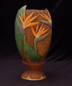 Gloria Crane Bird of Paradise gourd