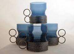 Set of Iittala Tsaikka Tea Cups in Blueberry Designed by Timo Sarpaneva in 1957 Finland Art Of Glass, Glass Wall Art, Nordic Design, Scandinavian Design, Glass Wall Lights, Stained Glass Designs, Marimekko, Retro Art, Glass Collection