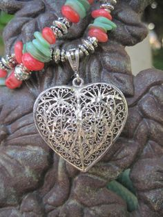 Silver HeART Pendant Necklace with Coral and by thirdtimecharms.etsy.com