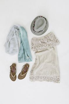 A crochet dress and fedora are summer essentials!