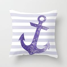 GLITTER ANCHOR IN PURPLE Throw Pillow
