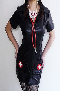 856ac71a95 Sexy Black Faux Leather Naughty Nurse Outfit Halloween Fancy Dress Costume  M L Halloween Fancy Dress