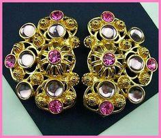 Pink Rhinestone Earrings HUGE Clip On Style Floral Motif Gold Metal Vintage Jewelry