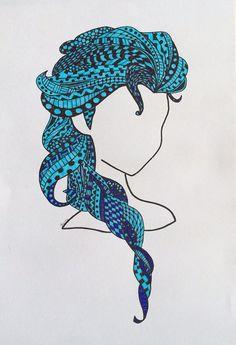 Elsa Frozen inspired Zentangle art work by TheCraftyFoxStall