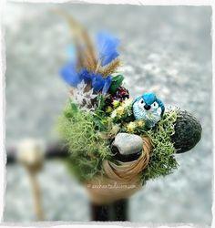 Miniature Fairy Garden Bird Mini Bird Blue by TheEnchantedAcorn
