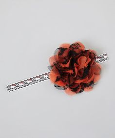 This Black & Orange Lace Flower Bow Skull Headband by Sweet Babies in Yarn is perfect! #zulilyfinds