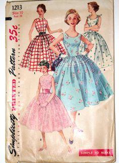 1950s formal dress vintage sewing pattern Simplicity 1213