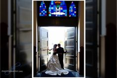 Toledo Wedding Photography bride and groom portrait!  BREATH-TAKING!  Love the stained glass windows above them.  What a beautiful wedding picture and Toledo venue!  www.jhphotography.org