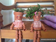 Bonecos de vasos de plantas para encantar seu jardim | Jardim do Coração
