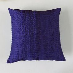 ultra marine blue pillow pleated- 18 inch cushion cover only