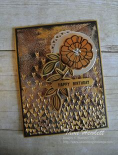 Tarnished Foil Technique | Swimming In Stamps, stampin up, tarnished metal technique, falling petal folder