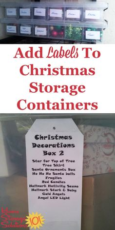 Make sure you add labels to your Christmas storage containers so it's easy to identify what is inside each box {on Home Storage Solutions 101} #ChristmasStorage #ChristmasOrganization #ChristmasOrganizing