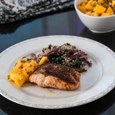 Moroccan Roasted Salmon with Mango Salsa and Quinoa Spinach.