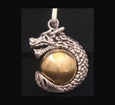 Dragon Design Harmony Ball, Sterling Silver Dragon On Brass Ball FIND this Harmony Ball AT www.HarmonyBall.net.au or www.etsy.com/shop/HarmonyBalls  #harmonyball #bolanecklace #angelcaller #babyshowergiftideas #pregnancygift #momtobe #necklace #jewelry #pendant #firstpregnancygifts #giftsforpregnancy