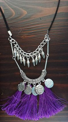 Silver Tone Coin Spiked Purple Tassel Necklace by Lycidasjewelry on Etsy Constellations, Costume Jewelry, Tassel Necklace, Tassels, Coins, Trending Outfits, Unique Jewelry, Purple, Handmade Gifts