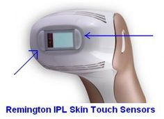The Remington IPL 6000USA has safety locks just  like the expensive hair removal systems. Here you can see the two 'skin-touch' sensors which will lock the Remington IPL if not placed tightly on skin.. Click Image! Read about cheap systems for hair removal..