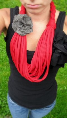 T shirt Scarf Red Scarves Infinity Scarf by Scarvesbystephy, $25.00