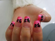 hot pink tips with black bows