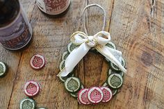 Bottle cap wreath ornament tutorial. OhMyGodYes! -- from OdellBrewing.com