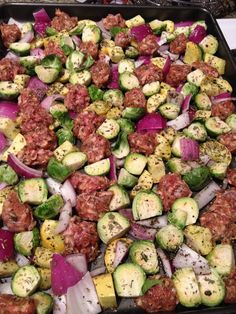 Easy Paleo Dinner - Sausage and Veggie (brussel sprouts, squash, red onion) Bake