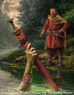 A very nice artistic representation of a well-known scene from the Arthurian Legend, featuring accurate period clothing and weapon. Medieval Art, Medieval Fantasy, Roi Arthur, Viking Reenactment, Hellenistic Period, Celtic Warriors, Empire Romain, Celtic Culture, Legends And Myths