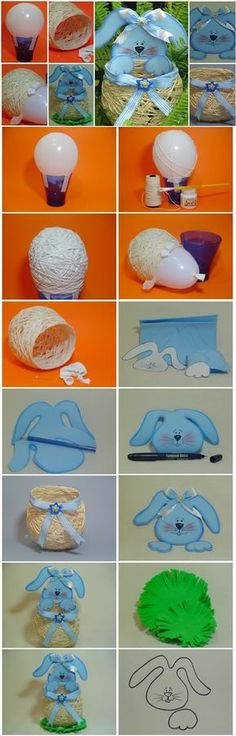 Make Cute Yarn String Easter Basket with bunny ! #diy #crafts #easter