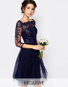 Chi Chi London | Chi Chi London Bardot Neck Midi Dress with Premium Lace and Tulle Skirt at ASOS