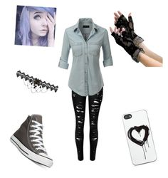 """""""Amika"""" by emo-neko-girl045 on Polyvore featuring beauty, LE3NO, Converse and Zero Gravity"""