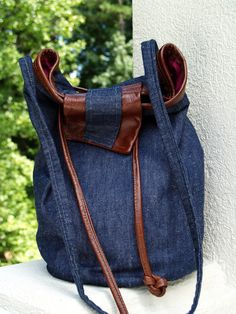 Barrel Denim Shoulderbag with Repurposed Leather Accents