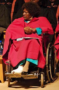 Nontsikelelo Albertina Sisulu (21 October 1918 – 2 June 2011[1]) was a black South African anti–apartheid activist, and the widow of fellow activist Walter Sisulu (1912–2003). She was affectionately known as Ma Sisulu throughout her lifetime by the South African public. In 2004 she was voted 57th in the SABC3's Great South Africans. She died on 2 June 2011 in her home in Linden, Johannesburg, South Africa, aged 92. African National Congress, My English Teacher, World Icon, Apartheid, Thing 1, Suffragette, Black Girl Magic, Baby Strollers, 2 June