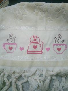 caydanlik Stitching, Hand Embroidery Stitches, Cross Stitch Embroidery, Towels, Cross Stitch Letters, Dots, Pictures, Costura, Stitch