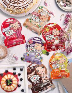 Дизайн упаковки бальзам для губ тирамису и какао, малиновая панна-кота, цитрусовый сабайон, черничное мороженое, эстерхази от Галант Косметик-М, г. Москва.