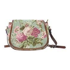 Beautiful Vintage Floral Wallpaper Saddle Bag/Large (Model 1649)