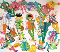 2 VINTAGE PAPER DOLLS with Many Paper Outfit by happyendingsjj