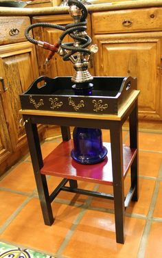 Gold Leaf Tray Hookah Table in Black and Red with golden flake trim and Gold Lead Applications