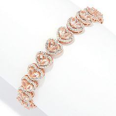 c1440540 NYC II® Choice of Length Morganite & White Zircon Heart Tennis Bracelet