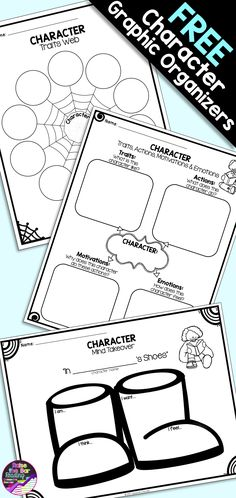 3 FREE Character Graphic Organizers for Fiction Reading Comprehension!  Student supports for analyzing character traits!