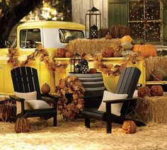 black painted chairs and fall leaves for front door decoration