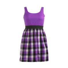 Buffalo Check Tank Dress - Teen Clothing by Wet Seal ($23) ❤ liked on Polyvore featuring dresses, vestidos, purple, wet seal, buffalo plaid dress, tank top dress, purple tank dress and purple dress