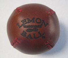 Lemon Ball Baseball by Paul Cunningham. http://www.bespokeglobal.com/products/leather-head-sports-by-paul-cunningham/lemon-ball-baseball  #bespokeglobal #bespoke #custom #leather #football #rugby #baseball #basketball #zebra #gold #mancave #accessories #decor #sports #baseball