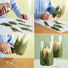 Cool idea for a holiday centerpiece-you could also spray paint the green