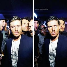 "Everyone has really weird faces, except Jensen. Like Jared is like ""AHHH A RAT!!"" and Misha is like ""Love me"" and Mark pops his head in like ""I'm the king of hell"" and fUCKING JENSEN LOOKS LIKE A MODEL"