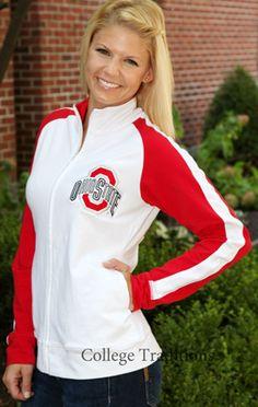 Ladies White Ohio State Milestone Jacket Ohio State Gear, Ohio State Football, Ohio State University, Ohio State Buckeyes, Buckeye Nut, The Buckeye State, Stylish Outfits, Cute Outfits, Ladies White